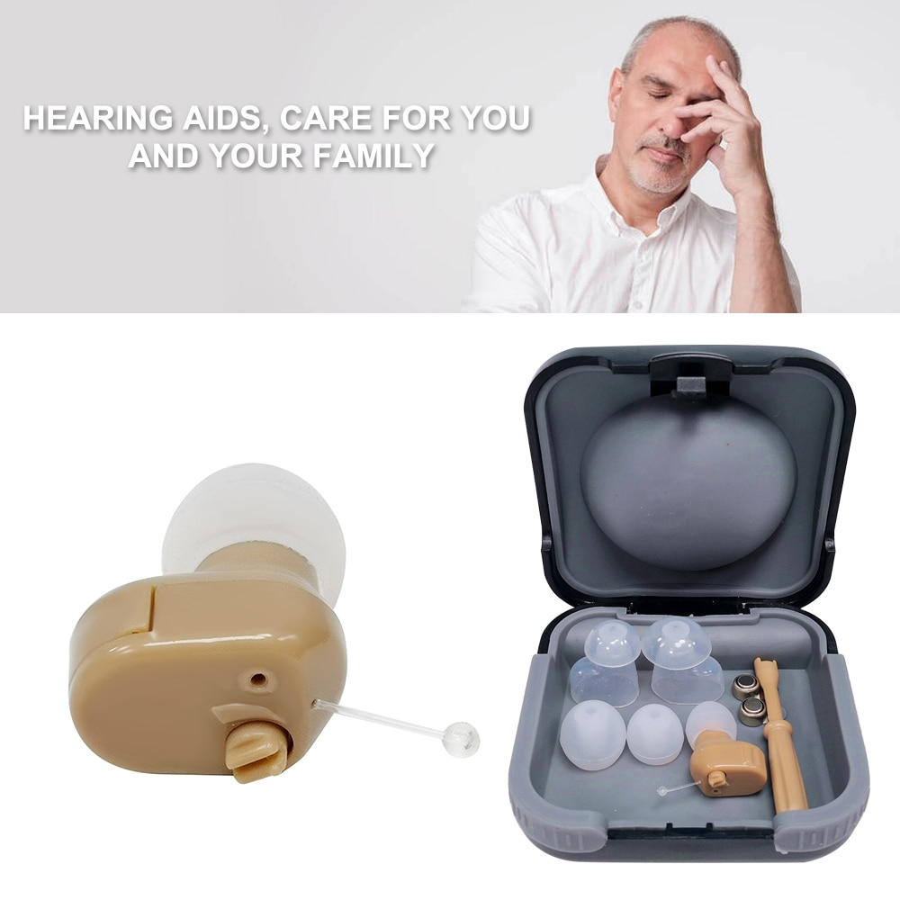 Audífono Mini Canal de oído tamaño Mini oído interno receptor de sonido Invisible altavoz ajustable oreja de audífonos amplificador de sonido