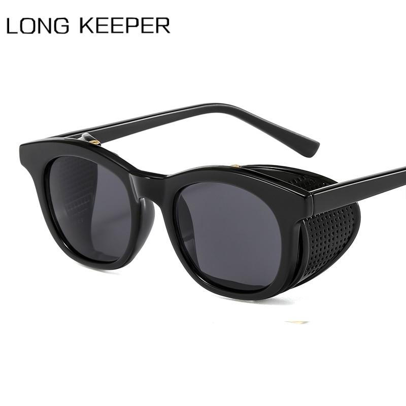 Gafas de sol clásicas Steampunk para hombre y mujer, gafas de sol con protección lateral, gafas de sol Retro redondas de diseñador de marca, gafas PC UV400, gafas de sol