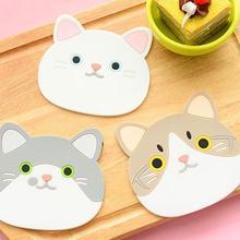 Posavasos de silicona con forma de gato, posavasos para taza, soporte para tazas, manteles individuales para mesa de café y bebidas, posavasos resistentes al calor