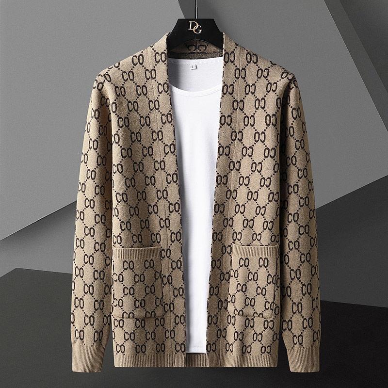 فاخر رسالة مطبوعة سترة سترة الرجال مصمم العلامة التجارية الموضة جيب سترة مشغولة من الصوف سترة معطف الرجال 2021 سترة عادية