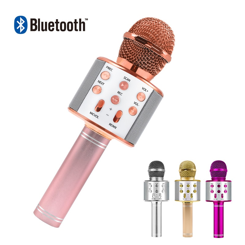 Bluetooth караоке микрофон беспроводной микрофон профессиональный Динамик ручной микрофон плеер для вокала, с рекордером микрофон