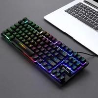 aygo gk 10 backlight characters 87 keys gaming mechanical keyboard floating key caps mechanical feel wired keyboard for laptop