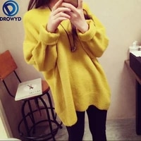 2021 winter korean version of the loose mid length sweater womens o neck sweater winter fashion ladies pink knitted clothes
