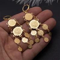 wando gold color coin earrings for women girl ethiopia wedding jewelry wholesale in stud earrings wedding bride flowers earrings