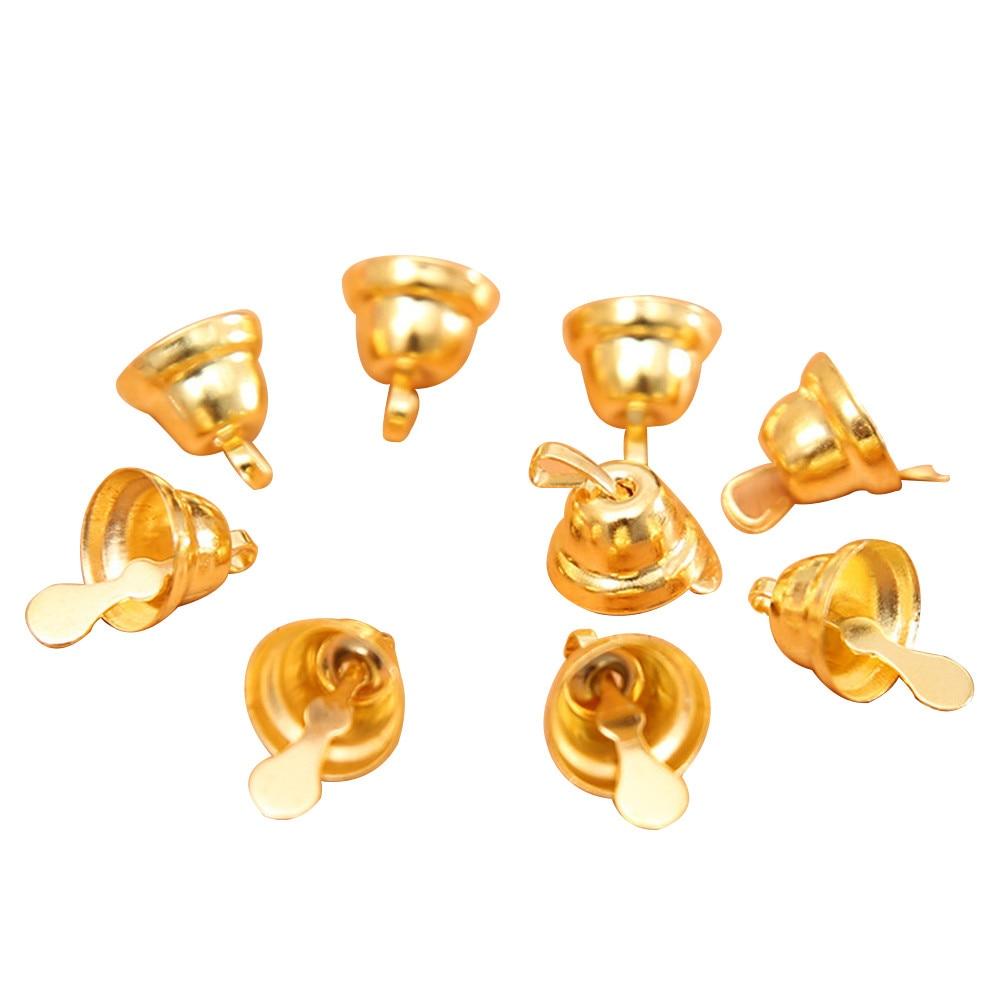 20 unids/set Jingle campanas oro 11mm pequeños abalorios suelos de hierro de Metal decoraciones para árbol de Navidad Fiesta Festival