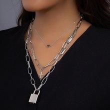 KMVEXO Padlock Heart Cross Pendant Necklaces Women Grunge Aesthetic Girl Lock Chain Necklace Gothic Emo Festival Fashion Jewelry