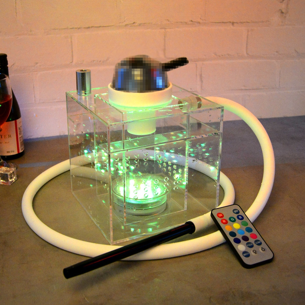 Arab LED Light Hookah Complete Transparent Cube Single Tube Acrylic Shisha Set With Bowl Charcoal Holder Tongs Water Pipe Kit enlarge
