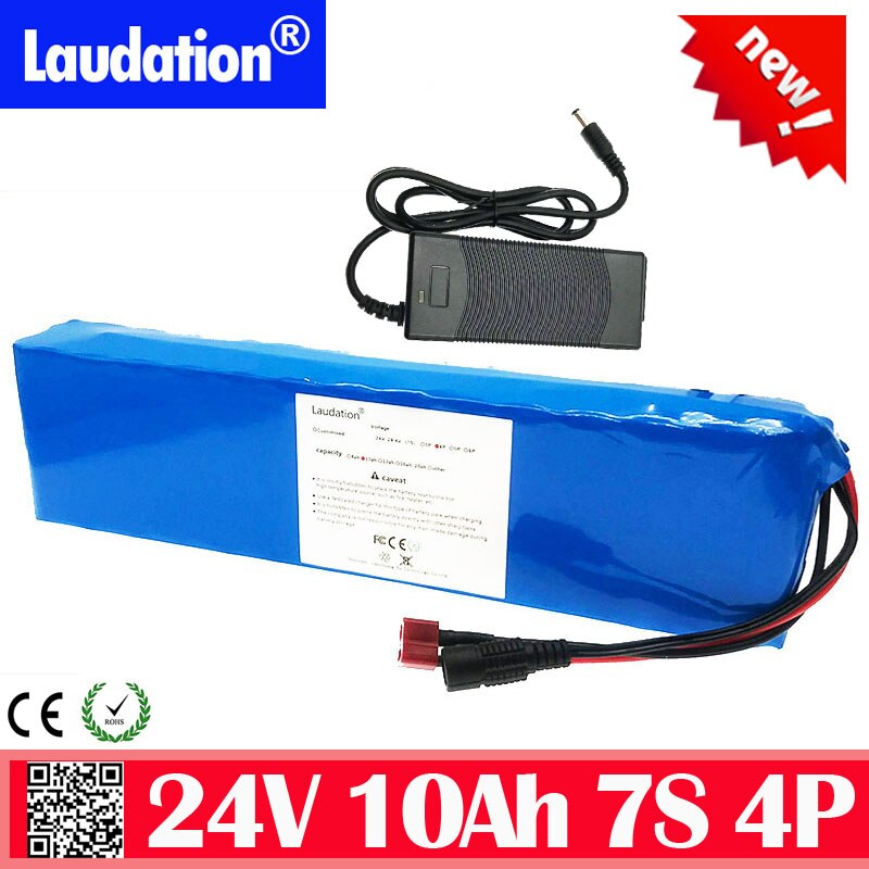 Laudation 24V батарея с зарядным устройством 7s 4p 10Ah 29,4 V 15A BMS Электрический велосипед литиевая батарея для 250W 350W мотор E велосипед