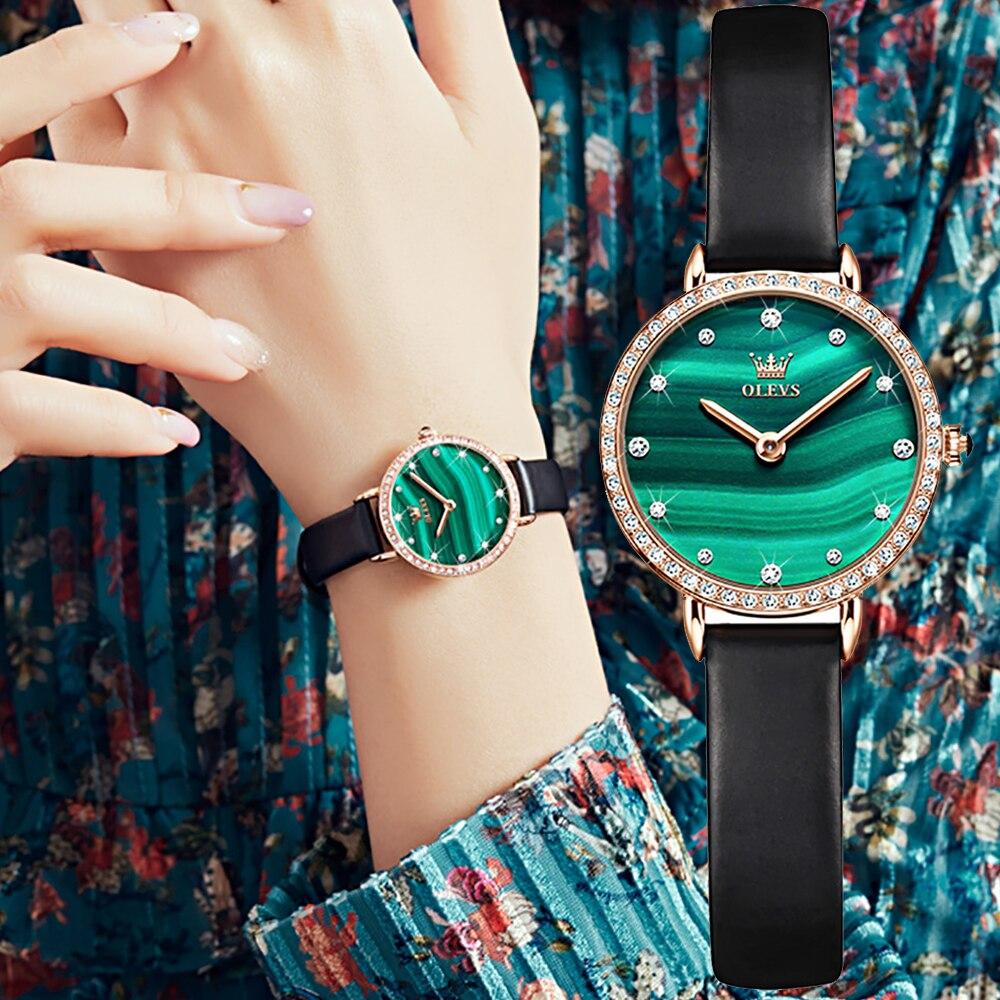 OLEVS العلامة التجارية الفاخرة السيدات ساعة موضة جلدية ساعة كوارتز سوار الأخضر الهاتفي ارتفع الذهب الإناث ساعة Relogio Feminino 2021