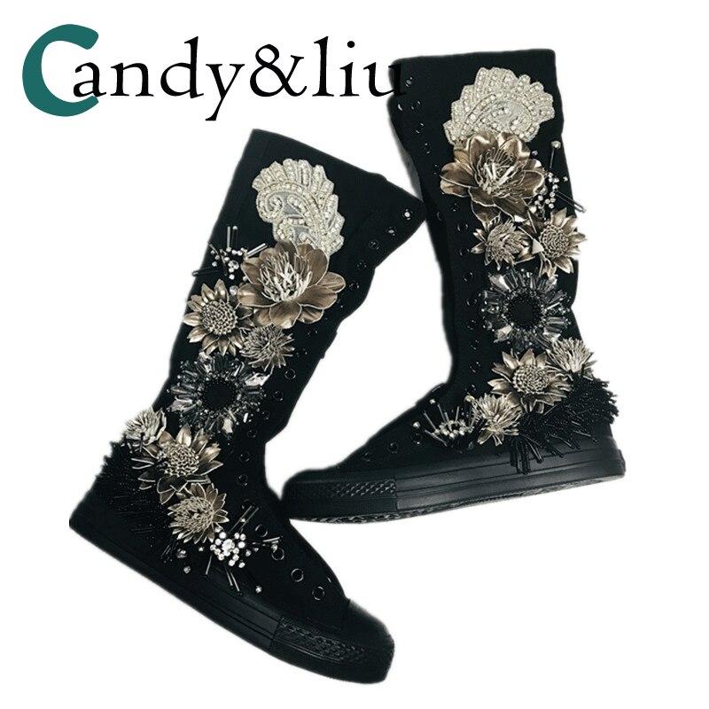 ارتفاع حذاء قماش اليد السوداء سوبر كول المياه الحفر شقة وحيد الصناعة الثقيلة شرابة سوبر فلاش سوبر أحذية رياضية عالية