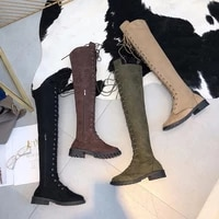 knee boots 2020 woman fashion winter snow boots lace up casual plus size female round toe flat over knee boots womens shoes