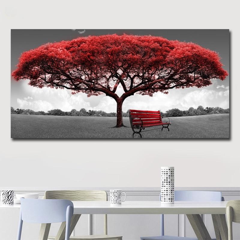Vermelho árvore e cadeira paisagem pintura a óleo sobre tela cartazes e cópias escandinavo arte da parede imagem para sala de estar decoração casa