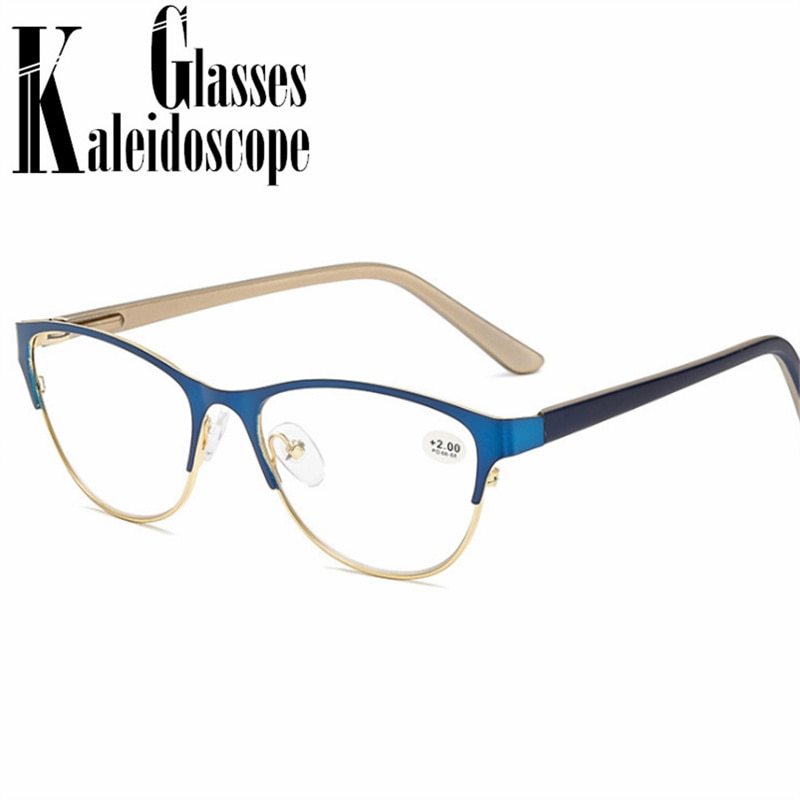 Cat Eye Reading Glasses Women Men Alloy Half Frame Hyperopia Glasses High-end Casual Spectacles  +1.0 +1.5 +2.0 +2.5 +3.0 3.5