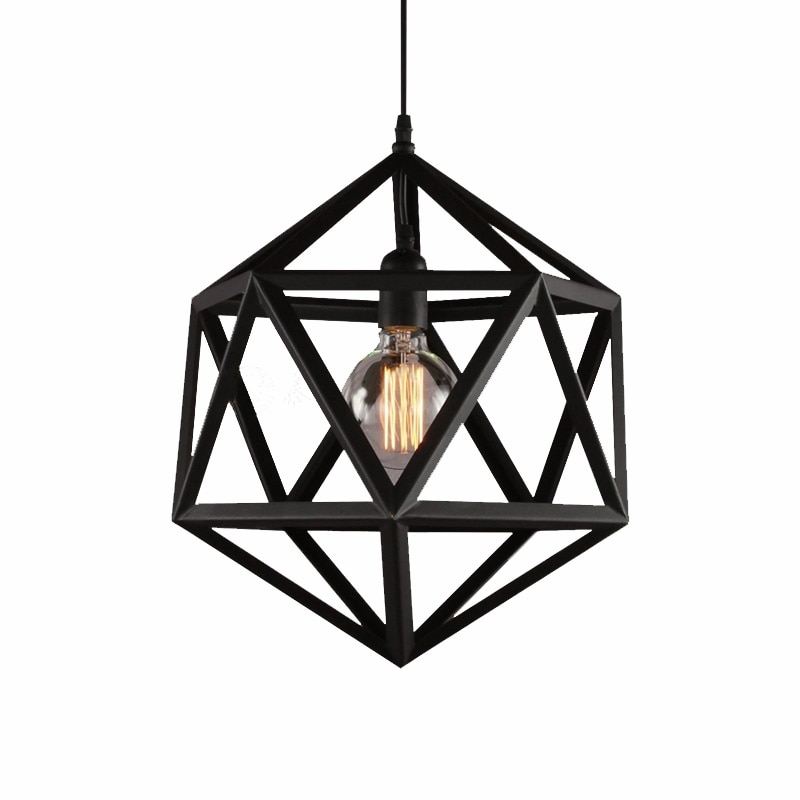 American Vintage Loft Diamond Metal Pendant Lights for Living Room Kitchen Industrial Led Hanging Lamp Home Decor Light Fixtures