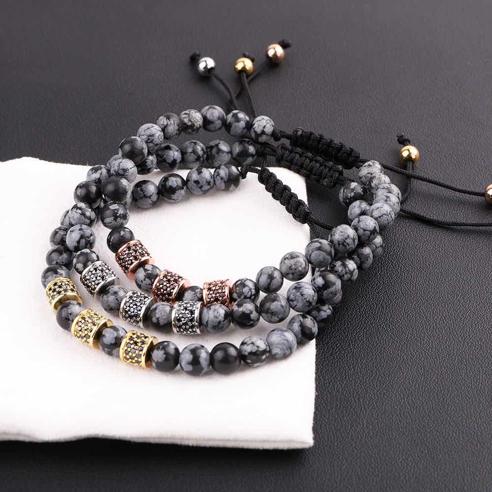 New Design Men Women Bracelet Natural Stone Snowflake CZ Micro Pave Tube Friendship Macrame Adjustab