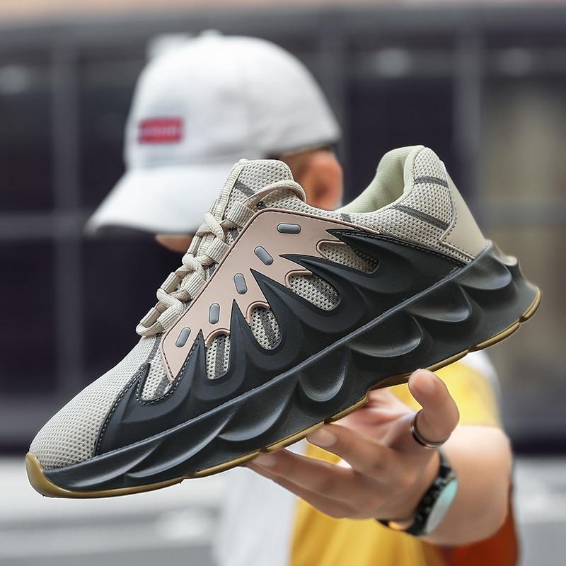 2019 Nova Lace-up sapatos Zapatillas Hombre Homens Sapatos Leves Confortáveis sapatos de Caminhada Respirável Tênis De Malha Homens Sapatos Casuais Retro