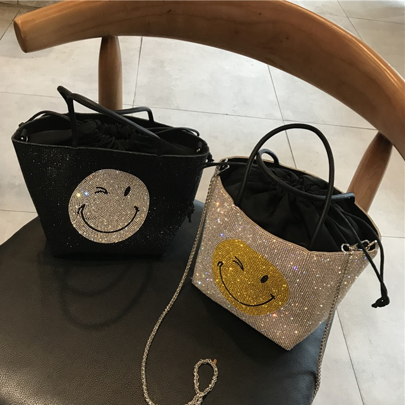 2021 Luxury Designer Ladies Full Rhinestone Smiley Bucket Bag Handbag New Fashion Diamond One-shoulder Messenger Bag For Women