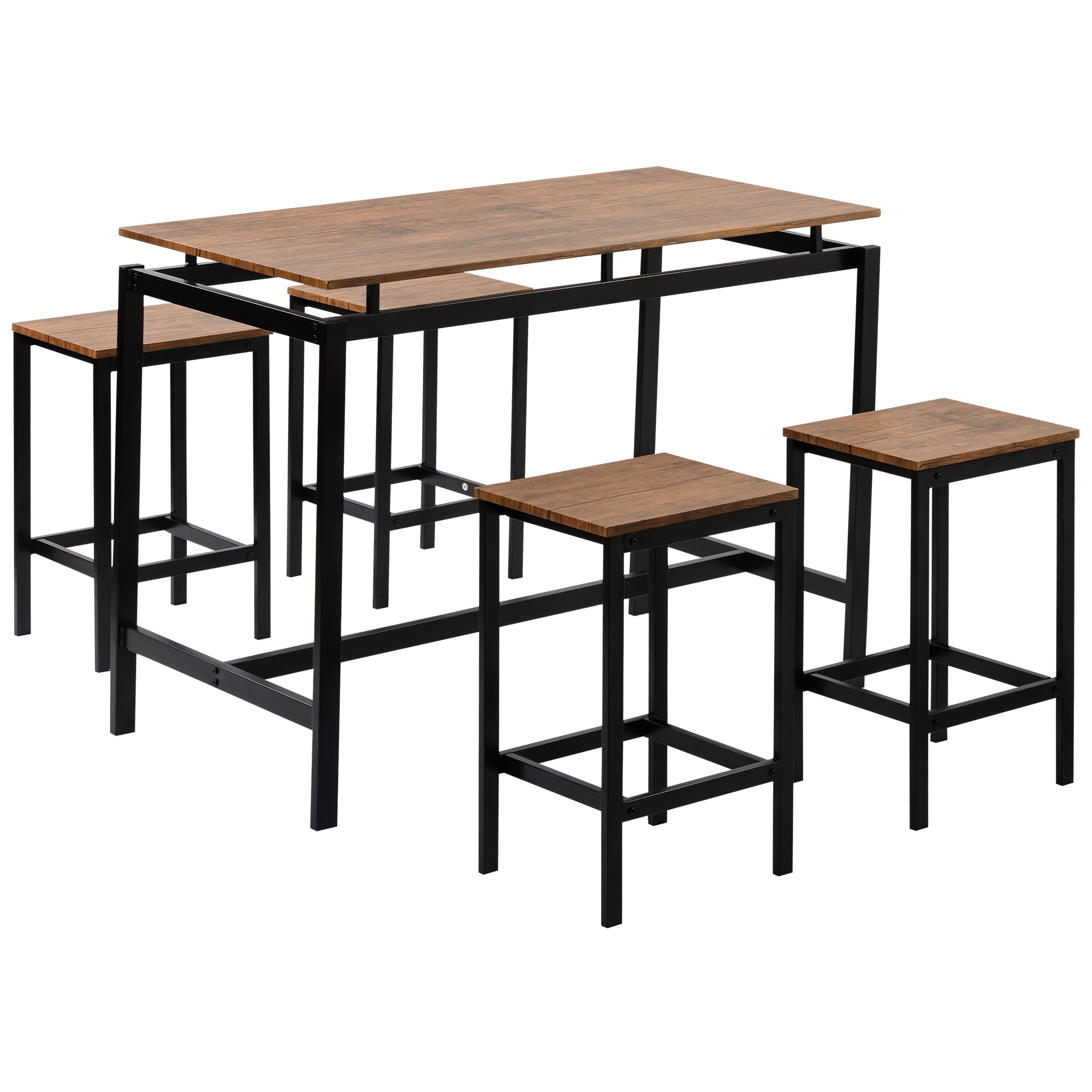 5 Piece Kitchen Set Counter Height Table Set Industrial Dining Table With 4 Chairs Home Furniture US Warehouse Fashion 5pcs dining chair set 4 chairs 1 dining table set wooden metal furniture brown black beige home kitchen office furniture