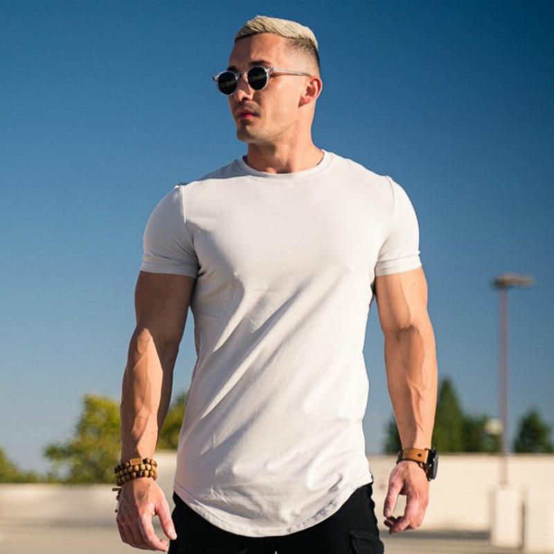 Men Tshirt Casual Cotton Solid Color T-shirt Curved Hemline Raglan Sleeve   Mens Workout Shirts Various Colors 3XL