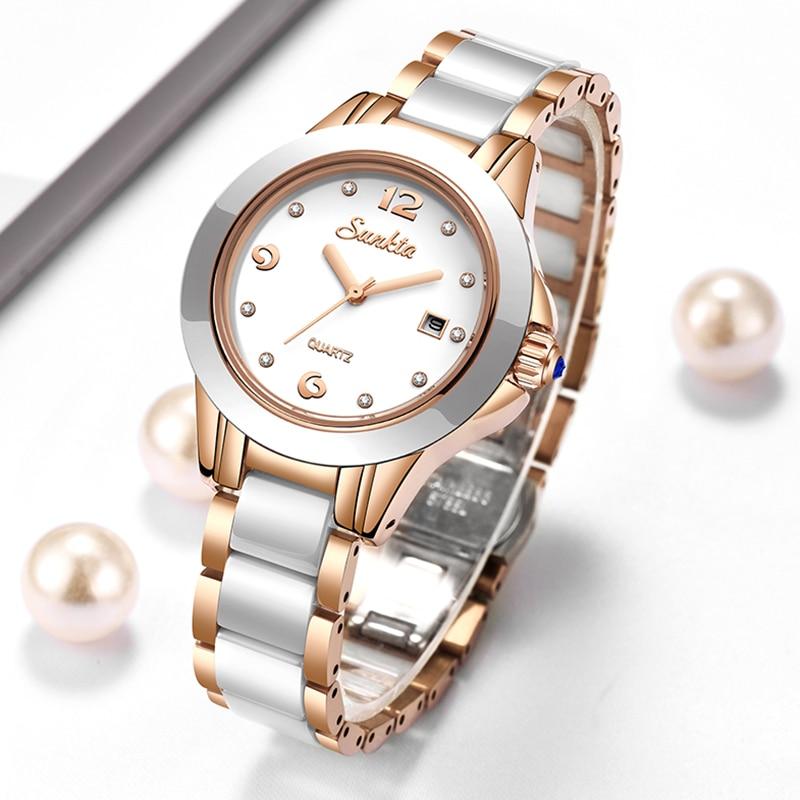 LIGE Brand Sunkta Women Watch 2020 Fashion Ladies Ceramic Wrist Watch Women Dress Watches Stainless