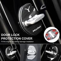 car door lock cover protector car door latch stopper cover carbon fiber for tesla model 3 model y interior accessories 4pcs