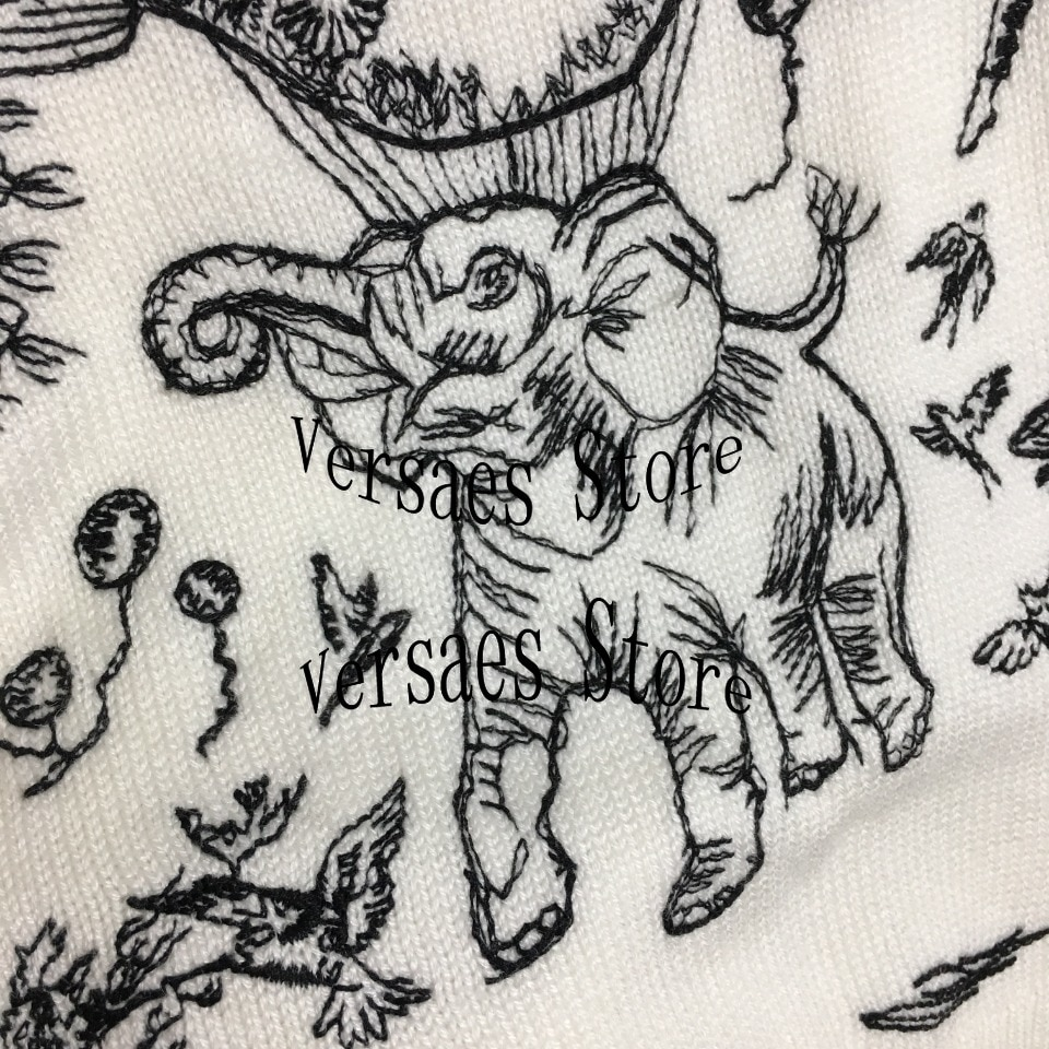 2021 luxury design elephant hot air balloon embroidery pattern fashion women's Pullover 100% WOOL LONG SLEEVE knitted sweater enlarge