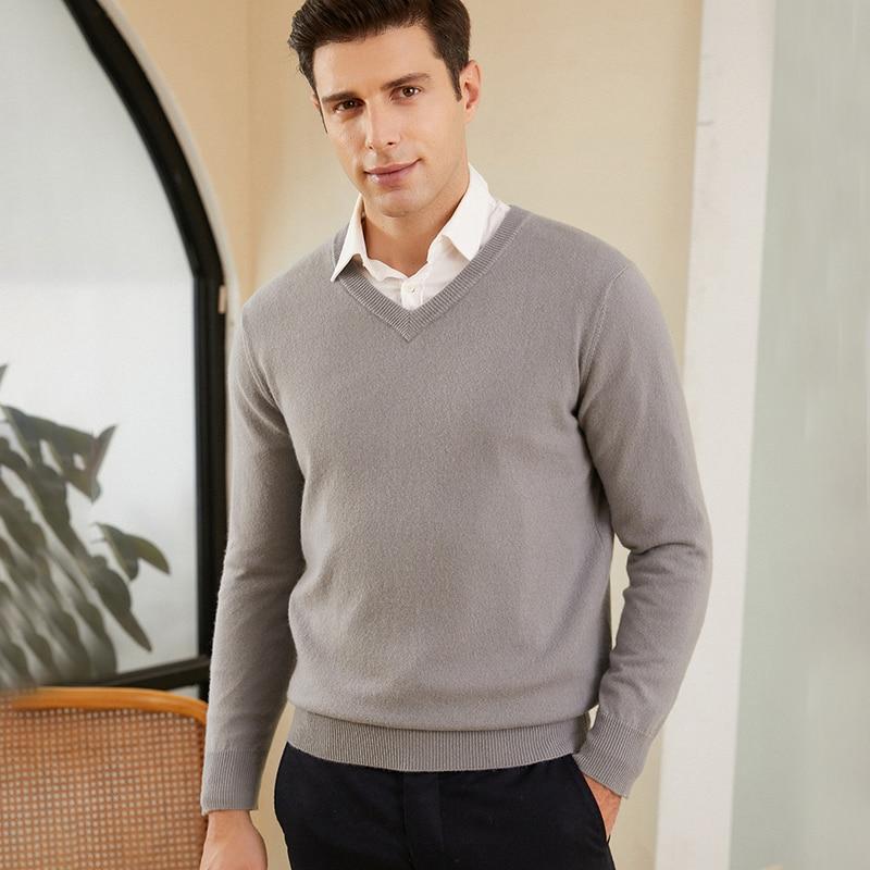 Men's 100% pure cashmere sweater Men's business casual V-neck loose fashion sweater men's top