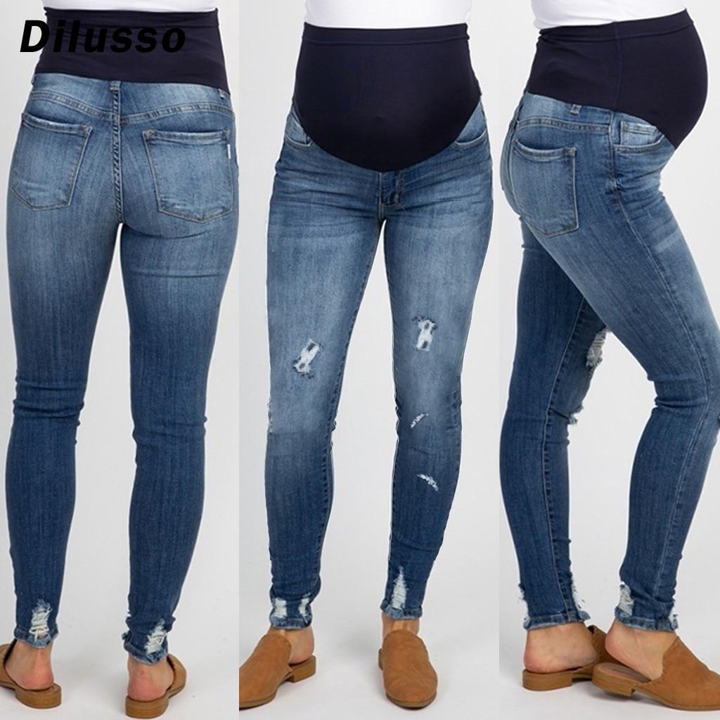 Mulher grávida rasgado jeans calças de maternidade calças de enfermagem prop barriga jeans bolsos buraco fino feminino calças de brim casuais para grávidas