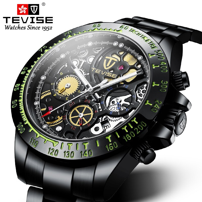 Dropshipping TEVISE Fashion Men Watch Waterproof Automatic Mechanical Watches Gold Stainless Steel M