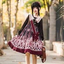 Anime cosplay estilo preppy lolita vestido turn-down colarinho puff manga kawaii cintura alta goth lolita op impressão vestido vitoriano