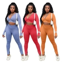women seamless suit sports set gym clothes fitness long sleeve crop top high waist leggings ribbed workout set tracksuits