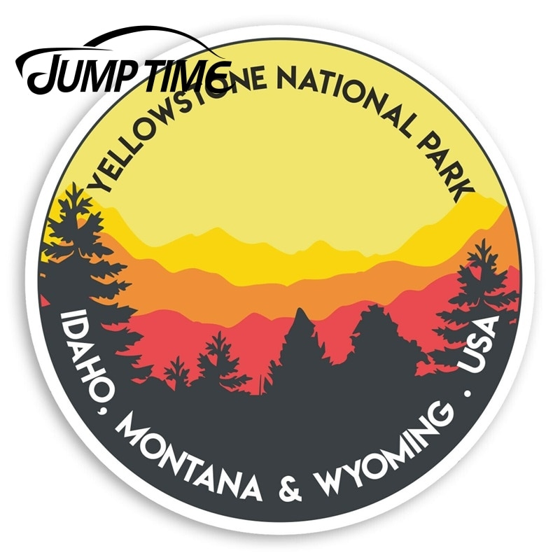 Jump Time Yellowstone National Park Vinyl Stickers - USA Sticker Luggage Window Bumper Decal Waterpr