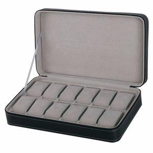 Black Watch Box 6/12 Grids PU Leather Watch Case Watch Storage Box for Quartz Watcches Jewelry Boxes Display Best Gift