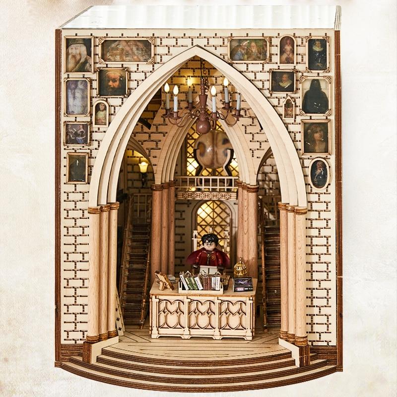 لتقوم بها بنفسك نموذج مكتب مدير خشبي بناء عدة الفن الدفتين القابلة للإزالة الكتب اليدوية الديكور القلعة بناء رف الكتب هدية