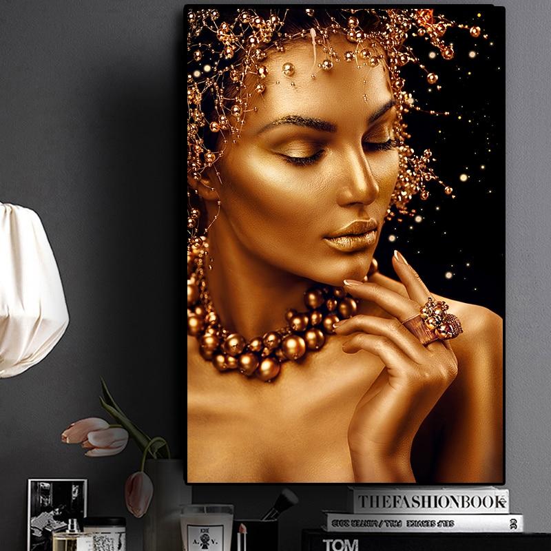 Arte Africano desnudo Sexy pintura al óleo de mujer negra y dorada sobre lienzo Cuadros Posters e impresiones arte de pared imagen para sala de estar
