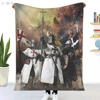 knights templar blanket 3d printed sherpa blankets on bed home textiles dreamlike home accessories bedspread on the bed