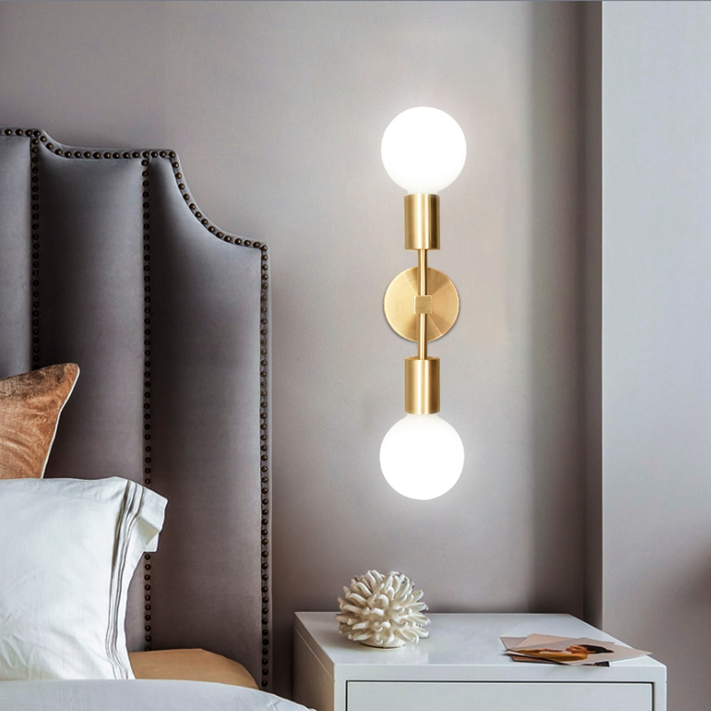 Postmodern Led Wall Lamp Mounted Sconce 2 -Light for Bathroom Bedroom Bedside lamp Brass Fixture E27 Blub Sconce Wall Light dimmable led vanity light fixture for bathroom black wall light lamp for mirror vintage bronze wall lamp sconce 8w 11w 15w