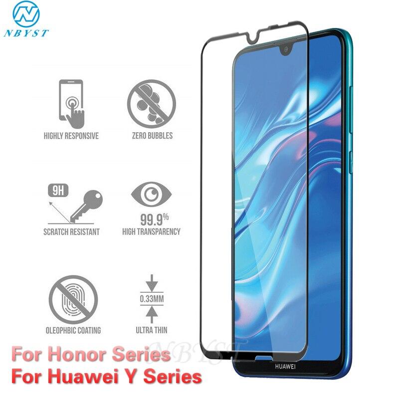 Cubierta completa de vidrio templado para Huawei Y5 Y6 Y7 Y9 2019 Honor 8A 8C 8S 10i 10 Lite 9 Lite Honor 20 Pro 20 Lite Protector de pantalla