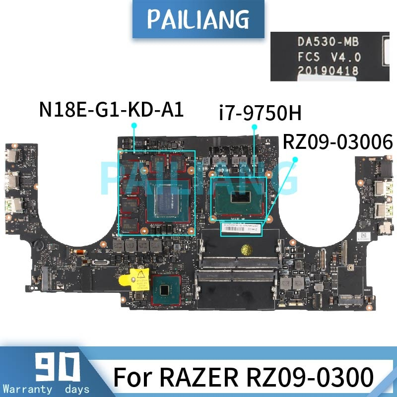 PAILIANG اللوحة الأم للكمبيوتر المحمول الماسح RZ09-0300 i7-9750H اللوحة الرئيسية DA530-MB SRF6U N18E-G1-KD-A1 DDR4 tesed