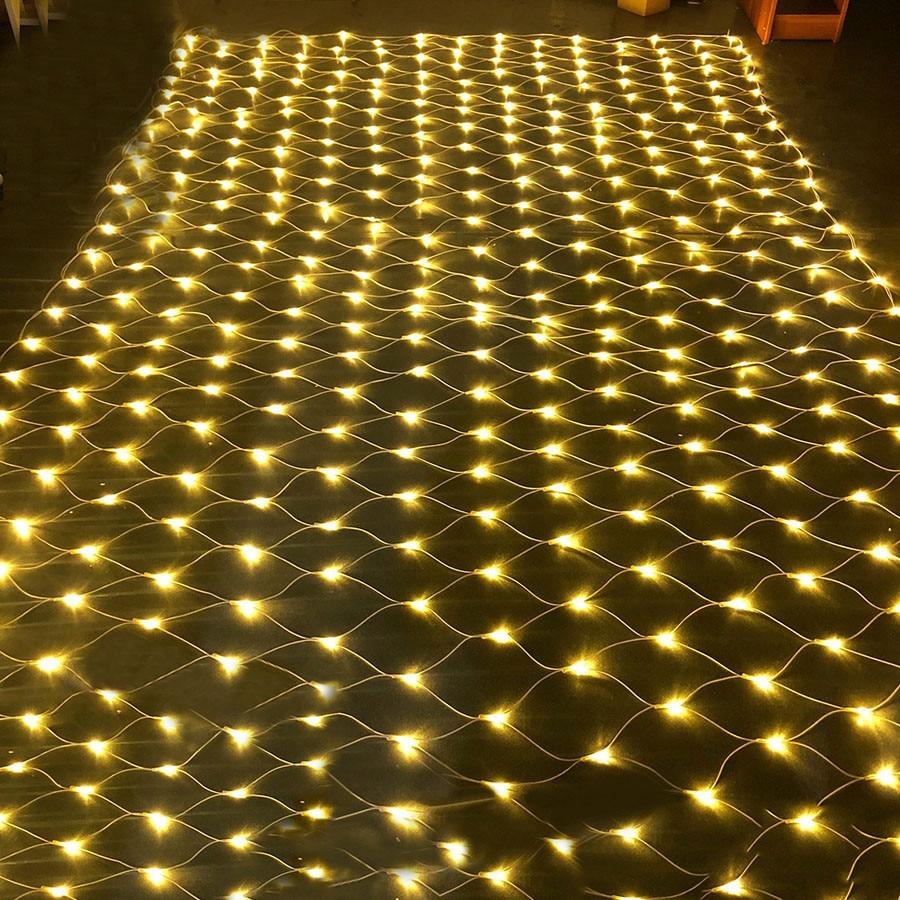 Thrisdar Led red malla cadena Luz Jardín pared TV Fondo red luz 2x2M 3x2M 6x4M Hada estrellada boda fiesta guirnalda Luz
