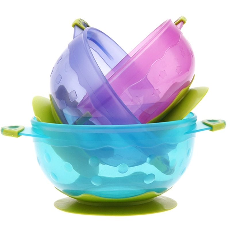 3Pcs Baby Suction Cup Food Bowl with Lid Spill-proof Drop Resistance Sucker Dish A2UB