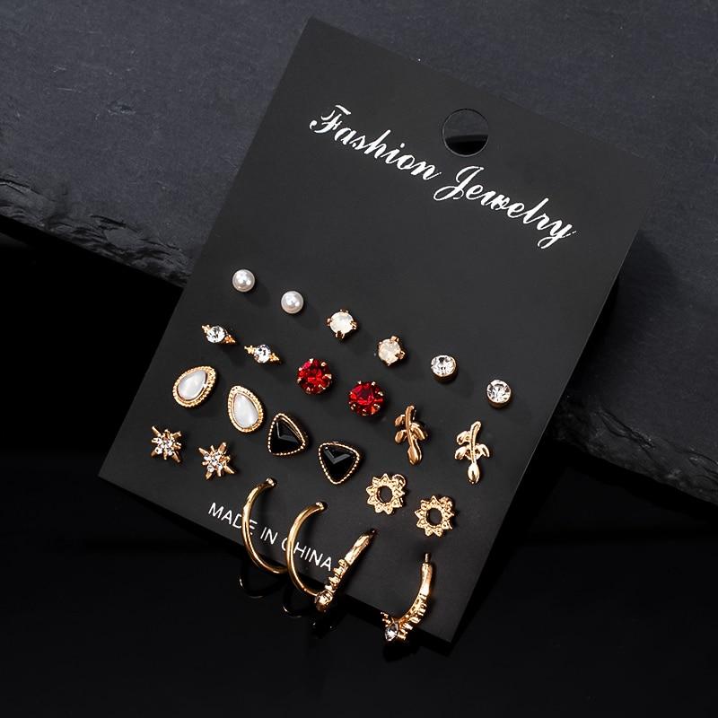 12 pasang / set anting-anting wanita anting-anting mutiara perhiasan - Perhiasan fesyen - Foto 2