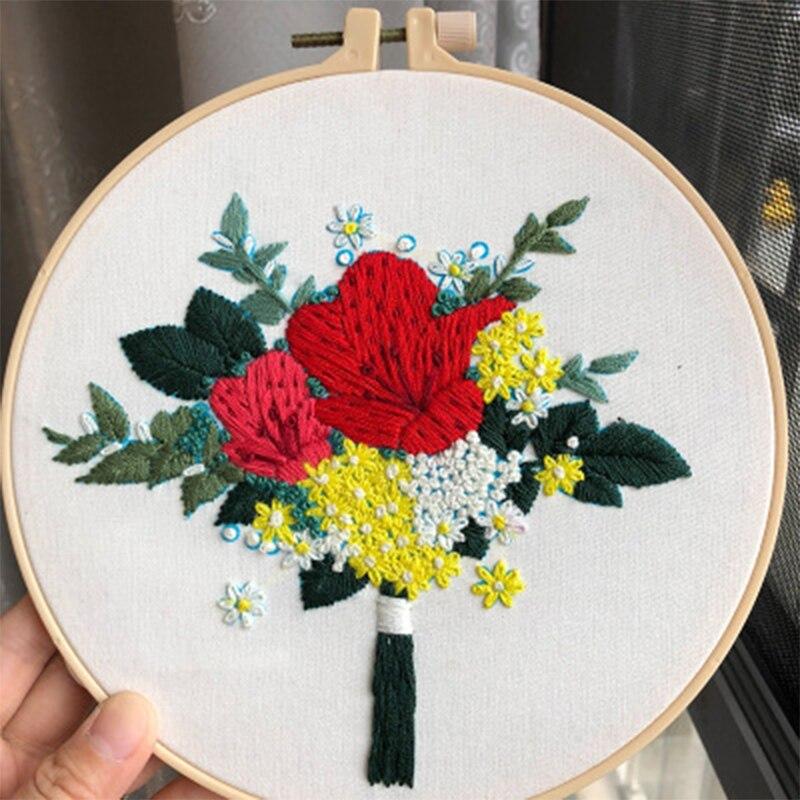 Design de flor 3d bordados materiais pacote estéreo kits de ponto cruz diy artesanato bordado iniciante costura suprimentos