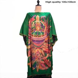 Dress Length 135 Cm Bustline 135cm popular Silk Printed Kaftan dresses Loose Style dashiki summer party Silk dresses for lady