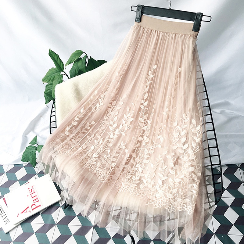 Floral Embroidery A-line Tutu Lace Mesh Skirt Women Elegant Tulle Long Pleated Skirt Women Midi Skirt Summer Hot Sale