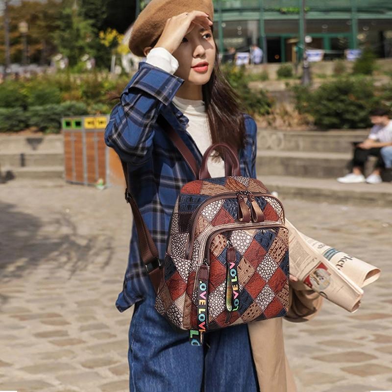 كوبلر أسطورة الجلود على ظهره المرأة المرقعة نمط عالية الجودة حقائب مدرسية عادية حقيبة سستة سعة كبيرة حقيبة فتاة