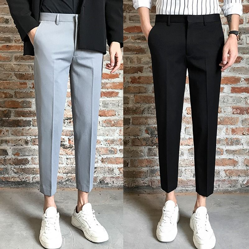 Брюки мужские прямые до щиколотки, деловой стиль, приталенные, стиль смарт-кэжуал, модные Костюмные штаны в Корейском стиле, черные