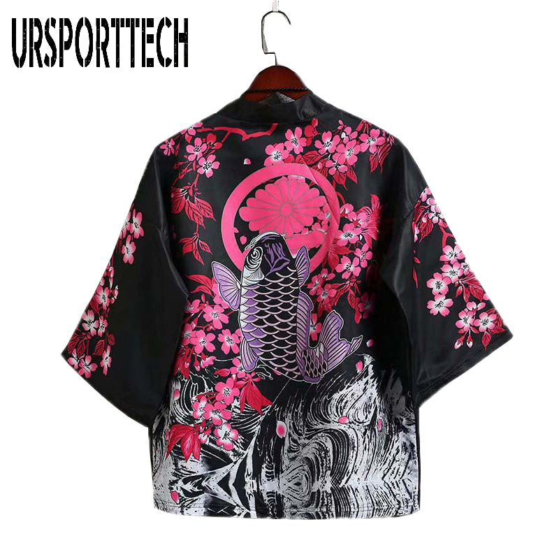 URSPORTTECH Mens Kimono Cardigan Japanese Carp Print Loose Shirt Tops Summer Casual Woman Man Kimonos Coat Couple Yukata