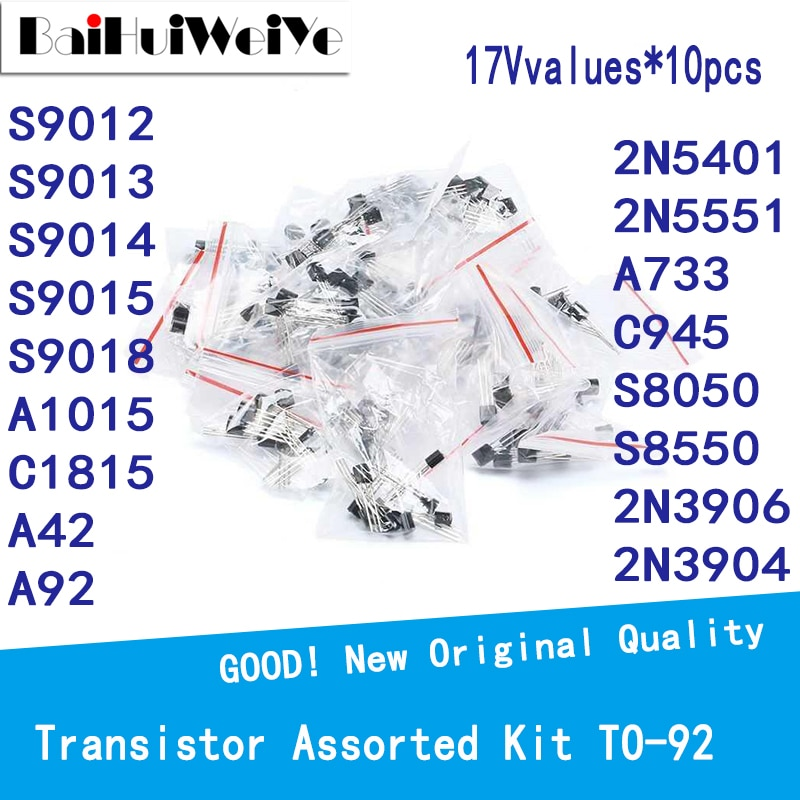 170PCS/LOTE Triode Transistor Assorted Kit 17Vvalues*10pcs TO-92 S9012 S9013 S9014 S9015 S9018 A1015 C1815A42 A922 N5401 2N5551