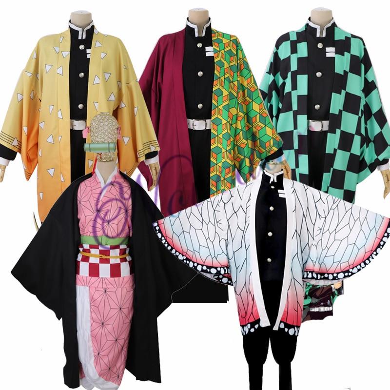 Anime Demon Slayer Kimetsu No Yaiba Kamado Tanjirou Agatsuma Zenitsu Tomioka Giyuu Nezuko Kimono Uniform Cosplay Costume